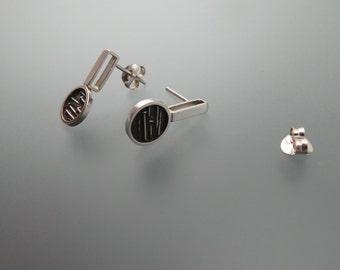 Circle earrings/Oxidized earrings/Texture circle earrings/Post dangle earrings/Polished sterling silver/Geometric earrings.