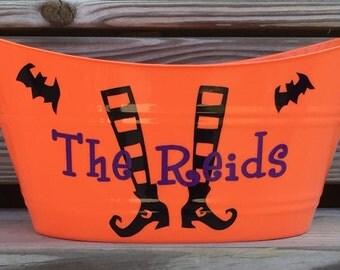 Personalized Halloween Bucket, Halloween Candy Bucket, Halloween Oval Tub, Family Name