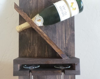 One Bottle and Two Glass Wine Holder