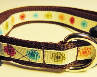 Small Brown Floral Dog Collar