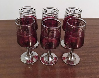 Vintage 1960s Set of Six (6) Silver Stemmed Red Cherry Glasses with a Floral Pattern / Retro Wine Glasses