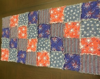 Rag Quilt Table Runner - Red White and Blue