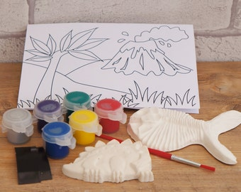 Mini Paint Your Own Dino Kit - Children's Craft Kit, Prehistoric Craft, Child's Gift, Dinosaur Party Favour, Paint A Fossil, Easy Craft
