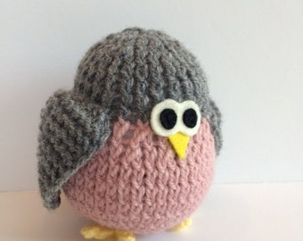 Hand Knit Bird - Waldorf Toys - Farm Animals - Natural Toys - Baby Shower Gift - Pretend Play Toy - Christmas Gift - Grey & Pink Bird