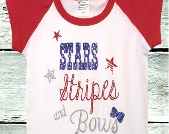 Stars, Stripes and Bows, glitter girls 4th of July t-shirt