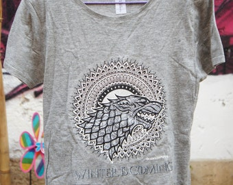 T-Shirt Game of Thrones - Mandala - Stark - Targaryen - Grey