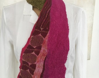 Nuno felted scarf pinky