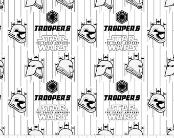 """Star wars Fabric: Star Wars The Force Awakens White by Camelot Fabric  100% cotton fabric by the yard 36""""x44"""" (K274)"""