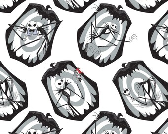 """In Stock: Disney Fabric-  The Nightmare Before Christmas- The Pumpkin King in stone by Camelot 100% cotton Fabric by the yard 36""""x44"""" CA469"""