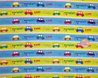 """Nursery Fabric : This way keep clear - blue and green Stripe Cars Fabric 100% cotton Fabric by yard 36""""x44"""" (A149)"""