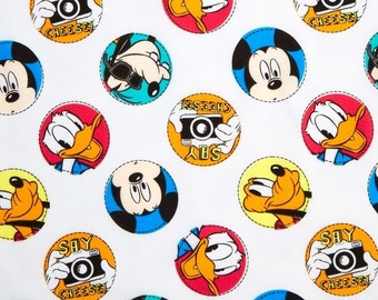 "Disney Fabric: Mickey Mouse, Donald Duck, and Goofy Say cheese - character badge 100% cotton Fabric by the yard 36""x43"" (A247)"