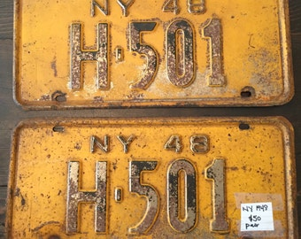 Set of two 1948 New York NY license plates