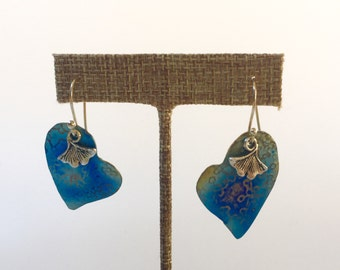Titanium heart earrings with Ginko leaves