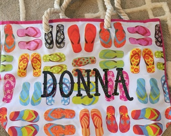 Personalized Flip Flop Tote