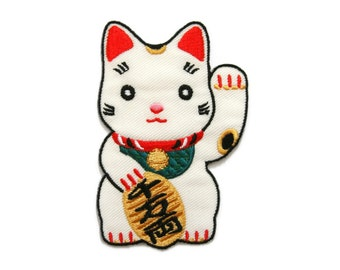 Japan Japanese Lucky Cat Embroidered Applique Iron on Patch 5.9 cm. x 8.9 cm.