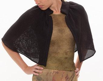 Wool capelet.Black bridal shrug.Retro cape.Evening cape.Black shrug bolero.Black knitted cape.Wool cape.Knitted capelet.Bridal knitted cape.