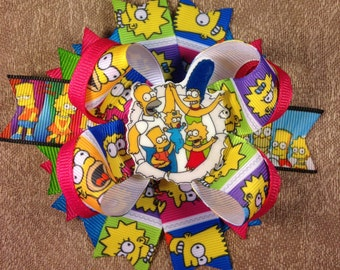 The Simpsons Hair bow, Hair bows, Boutique Hair bows, Layered Hair bows, Stacked Hair bows