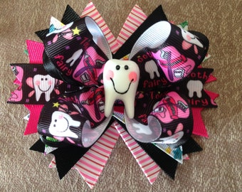 Tooth Fairy Hair bow, Hair bows, Stacked Hair bows, Layered Hair bows, Boutique Hair bows, Missing teeth, Beautiful smile