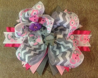 Pink and Grey Elephant hair bows, Elephant hair bows,  Stacked hair bows, layered hair bows, Boutique hair bows,OTT bows,Large bows,Hairbows