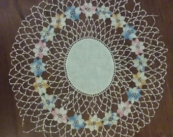Very old Delicate Crochet Doily with colorful flower detail