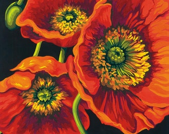 """DIY - Paint Works -Paint by Number Kit 11"""" X 14 - Red Poppy Trio - No Art Talent Needed to Achieve a Masterpiece"""