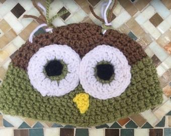 Olive Green & Light Brown Owl Beanie