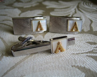 Vintage Swank Silver Tone & Mother of Pearl Initial A Tie Clip and Cufflinks Set
