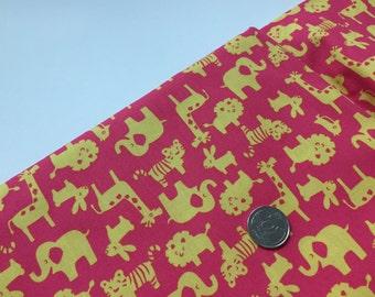 Zoo on Fuschia 100% Cotton Fabric