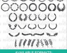 Laurel Wreath SVG, dxf, png, jpg, Laurel Monogram SVG, Laurel Branches SVG, Olive Wreath Digital Download, Vector Wreath, Laurel Frames