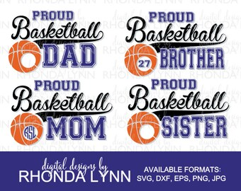 SALE! Basketball SVG, dxf, eps, png, jpg cut file, Proud Basketball Dad, Proud Basketball Mom, Proud Basketball Bro, Proud Basketball Sister