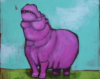 Painted Hippo acrylic print