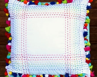 Pom Pom & Tassel Trim Hand Embroidered Pick Stitch Throw Pillow Cover