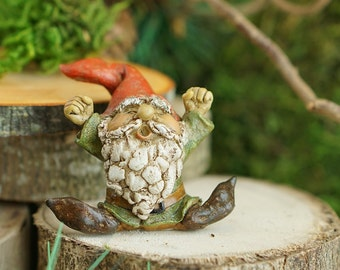 Miniature Fairy Garden and Terrarium Garden Gnome Yawning Statue