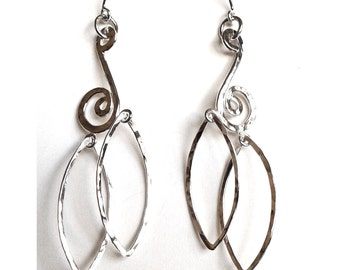 Sterling Silver Hammered Scroll and Leaf Mobile Earrings