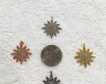 Pave bursting star pendant or charm