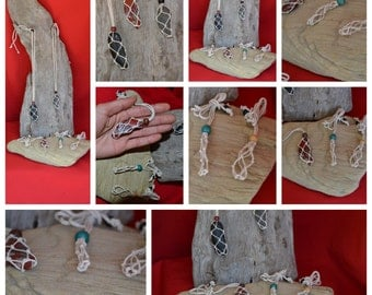 Wholesale Custom Lots of Interchangeable Macrame Large Crystal Pouches Necklaces Mixed Colors