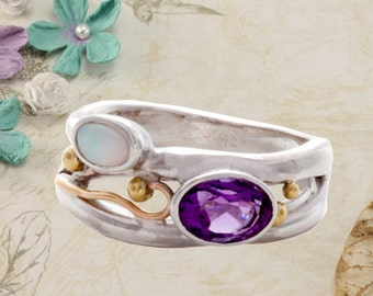 Silver Ring with Amethyst and Opal