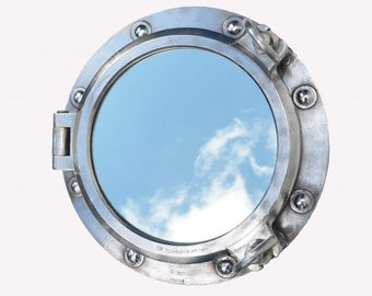 Industrial style porthole mirror, original porthole mirror, reclaimed porthole mirror, up-cycled porthole mirror, ships porthole, porthole