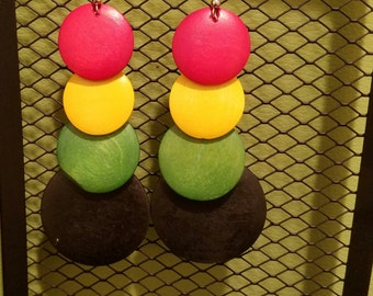 Multicolored Wood Earrings