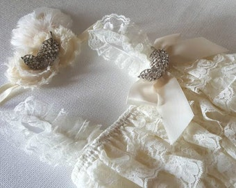 Ivory petti lace romper and headband SET with Feather brooches