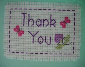 Hand sewn 'Thank you' cross stitch card
