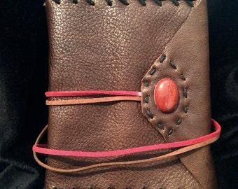 Handmade Leather Journal w/ Red Jasper Stone