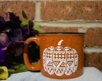15 Ounce Terra Cotta Aztec Print Pumpkin Campfire Mug