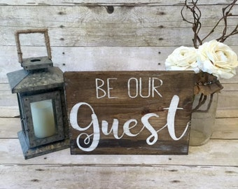 Home Decor | Be Our Guest Reclaimed Wood Sign | Weathered Decor| Rustic Decor| Guest Bedroom Decor