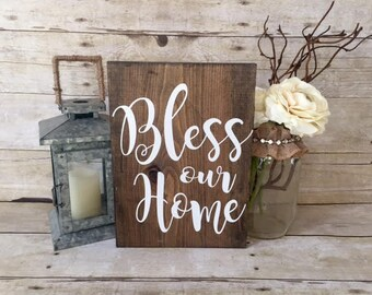 Bless Our Home Reclaimed Wood Sign | Weathered Decor| Rustic Decor | Kitchen Decor | Home Decor