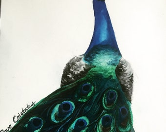 "Pavo Cristatus- Original Watercolor Painting 9"" by 12"""