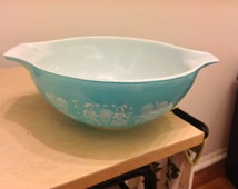 Pyrex Amish Butterprint 444, Cinderella Mixing Bowl, 4 Quart, Turquoise Aqua, Butterprint Pyrex, Pyrex Butterprint Bowl, Aqua Pyrex
