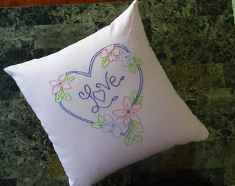 Hand-embroidered pillow (Heart, Love, and Flowers)