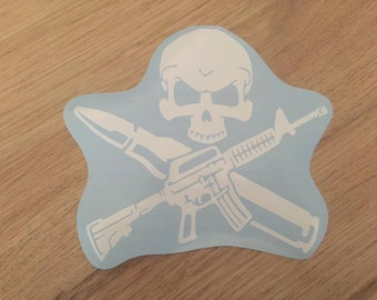 Skull and Rifle Bullet Crossbones Vinyl Car Laptop Decal