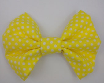 Yellow Polka Dot Fabric Bow